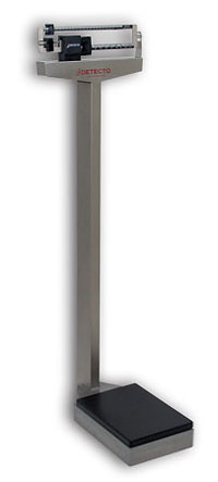 Detecto Stainless Steel Eye Level Physician Scale w/ Height Rod: 400 lb x 4 oz