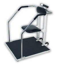 Detecto Digital Chair or Stand on Scale w/Flip Up Seat & Wheels